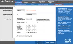 Routeur Linksys WRT54GL configuration routage avancé