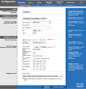 Routeur Linksys WRT54GL configuration de base
