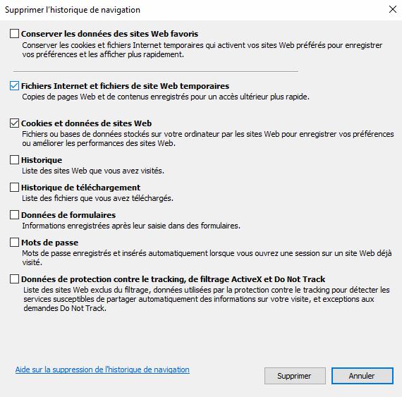 Supprimer cookies et cache internet explorer