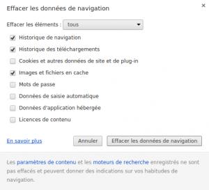 Effacer les données de navigation sur Chrome