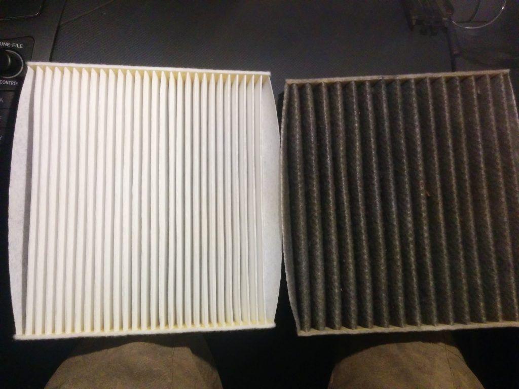 Comparatif vieux filtre habitacle vs nouveau filtre