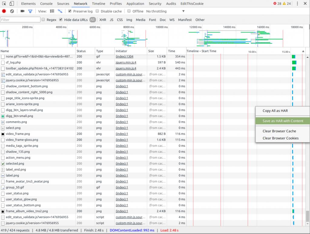 Enregistrer comme HAR sur Chrome