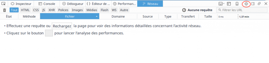 Ouvrir les setting sous Firefox
