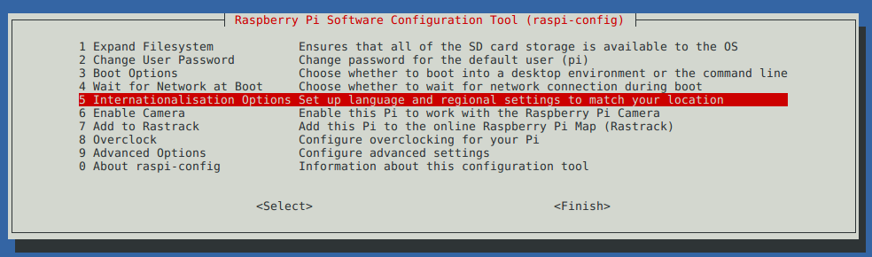 raspberry menu configuration tool (raspi-config)