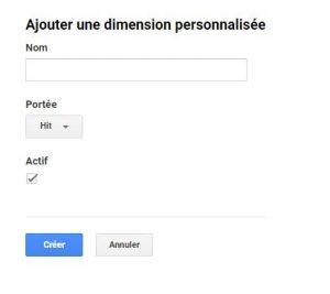Google Analytics création d'une dimension personnalisée