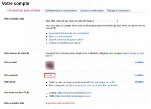 Flickr pages mes parametres