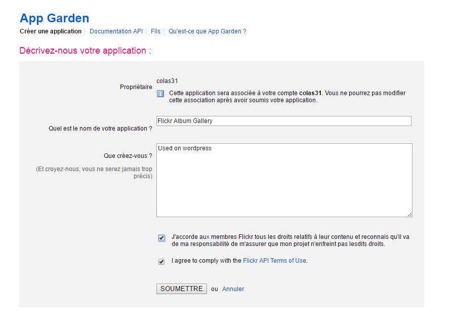 Flickr : nom et description application