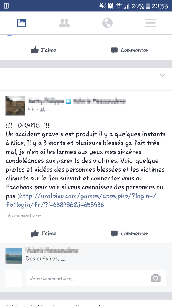 Message accident facebook