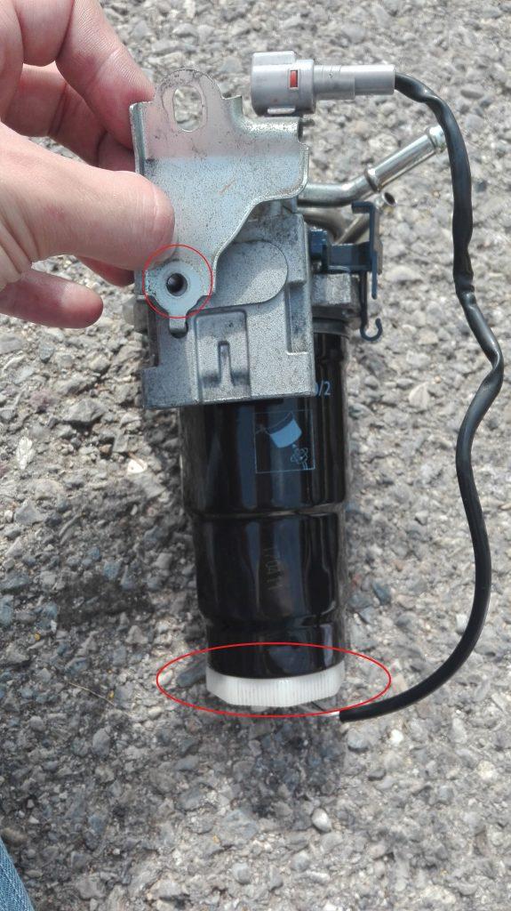 filtre gasoil démonté
