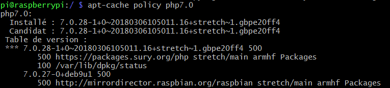 apt-cache policy php7.0