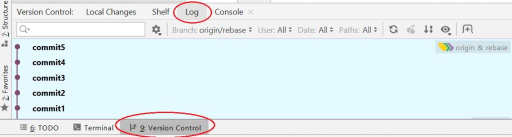 log commits IntelliJ