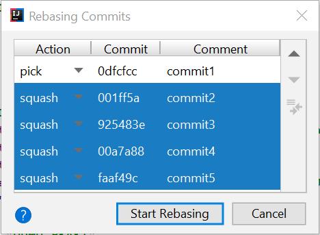 squash commits